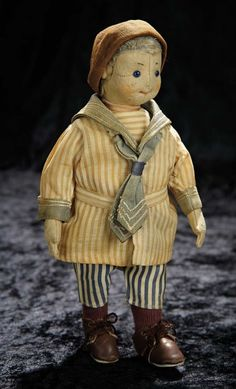 Soirée: A Marquis Cataloged Auction of Antique Dolls and Automata - May 14, 2016: Lot 225. German Felt Character Doll by Steiff