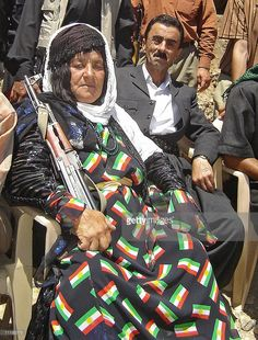An old Kurdish woman fighter from the Jaff tribe, the largest tribe.
