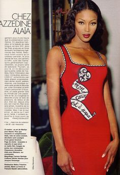 1992 - Naomi Campbell in Alaia by Gilles Bensimon for Elle Magazine France | May 1992