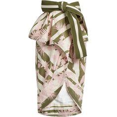 Johanna Ortiz Madidi ruffled stretch-cotton skirt ($1,371) ❤ liked on Polyvore featuring skirts, pink multi, flounce skirt, bow skirt, cotton stretch skirt, frilly skirt and ruffled skirts