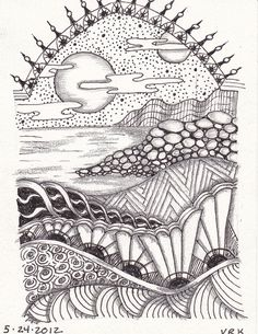0004 by val71655, via Flickr AMAZING lesson idea, simple landscape filled with zentangle patterns