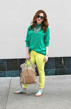 {green and yellow}