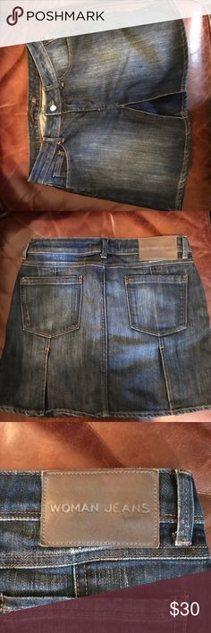 Zara denim mini skirt Awesome EUC denim mini. Size 8, with subtle pleating in the front and back. Very nice for summer or fall. Zara Skirts Mini