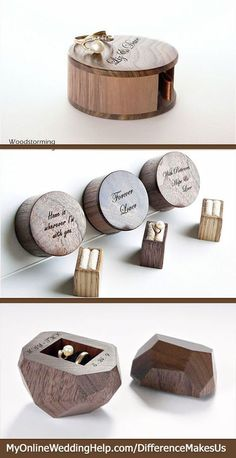 Unique wooden engagement ring and wedding band boxes. The ring bearer would look cute carrying the bottom one in a rustic or nature-like wedding. The top ones would be unexpected to propose with.