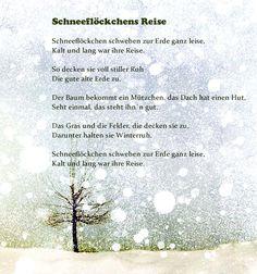 Schneeflöckchens Reise - New Ideas Small Poems, Waldorf Kindergarten, Kindergarten Portfolio, Christmas Poems, Winter Kids, German Language, Hungry Caterpillar, Woodland Party, Crafts To Do