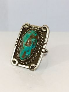 Vintage Navajo Sterling Silver Turquoise Ring Native American