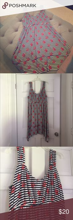 Style & Co. Patriotic Dress - Size L Style & Co. (Macy's) Patriotic Dress - Blue and White Stripes with Red Stars - Size L - Only Worn Once Style & Co Dresses Midi
