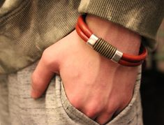 Mens Leather Bracelet, Mens Leather Bangle, Modern Men Bracelet, Leather Bracelet Men, Leather Anniversary, Thick Leather, Gift for Him, PPP