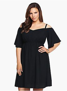 """Get your night off to a sexy start. An off-the-shoulder design gives this little black dress (LBD) a sultry vibe while soft chiffon keeps it lightweight and easy-flowing. Finished with a v-neck and gathered waist that creates a figure-flattering silhouette. Fully lined.<BR><BR><P><B>Model is 5'9.5"""", size 1</B></P><ul><li> Size 1 measures 34 7/8"""" from shoulder</li><li>Polyester</li><li>Hand wash cold, line dry</li><li>Made in USA plus size dress</li></ul>"""