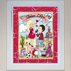 Gettin' Hitched Personalised  Framed Toon from boogiecatdesigns.com  #engagementgift #personalisedgift #framedgift #uniquegift #proposed #proposal #gettinhitched #gettinghitched #ringonit #gotengaged #happycouple #loveisintheair #love #weddingbells #hitched #tietheknot #theknot Love Is In The Air, Tie The Knots, Engagement Gifts, Wedding Bells, Proposal, Unique Gifts, Frame, Instagram Posts, Weddings