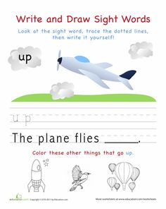 Worksheets: Write and Draw Sight Words: Up