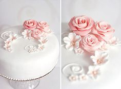 Normally I hate fondant desserts (who wants to peel the icing off their cake???) but I'm madly in love with the simple elegance of this cake design. The different shades of pink with the various textures  just WORK.