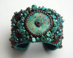 Turquoise Dream - Bead Embroidery Cuff. via Etsy. Totally Twisted Beaded Jewelry by Jean Hutter
