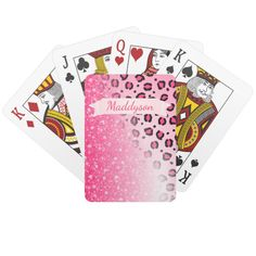 Teen Girls Personalized Sparkly Leopard Print Playing Cards Personalize this deck of playing cards for women and teen girls by swapping the existing name for y Gin Rummy, Playing Card Games, Game Room Design, Pink Sparkly, Pink Leopard Print, Unique Birthday Gifts, Pink Girl, Teen Pink, Family Games