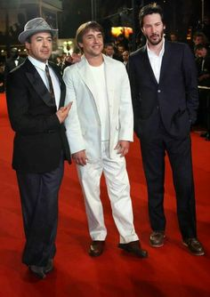 Keanu Reeves with Robert Downey Jr and director of Scanner Darkly