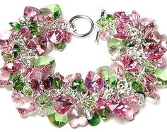 Bracelet, Pink and Green Swarovski Crystal Spring Jewelry, Apple Blossom, Green, Clear, Silver, Pink AB Heart