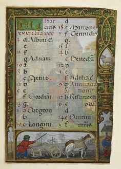 Calendar page for March, from the Golf Book (Book of Hours, Use of Rome), workshop of Simon Bening, Netherlands (Bruges), c. 1540, Additional MS 24098, f. 21r