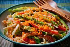 Spicy Kani Salad (asparagus, red pepper, and cucumber) Spicy Recipes, Salad Recipes, Cooking Recipes, Spicy Kani Salad Recipe, Japanese Cucumber, Chilli Jam, Asparagus Soup, Vegetable Seasoning, Rice Vinegar