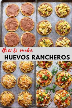 Huevos Rancheros Breakfast Tostadas is a great recipe for breakfast lunch or dinner. They're made with creamy refried beans fluffy scrambled eggs with melted cheese diced tomatoes diced onions guacamole sour cream cilantro and jalapeños. Mexican Breakfast Recipes, Brunch Recipes, Mexican Food Recipes, Pancake Recipes, Crepe Recipes, Waffle Recipes, Huevos Rancheros, Tostadas, Breakfast Time