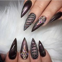 52 pretty nail art patterns decorated and simple pretty nail colors, pretty nails and spa, pretty nails woodley, pretty nail ideas, Pretty Nail Colors, Pretty Nail Art, Beautiful Nail Designs, Sexy Nail Art, Sexy Nails, Nice Nails, Fancy Nails, Black Nails, Long Stiletto Nails