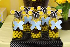Fun favors at a  Bee Birthday Party! See more party ideas at CatchMyParty.com!  #partyideas #bee