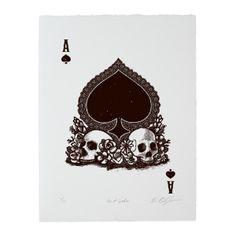 PRE-ORDER: Calaveras Ace of Spades Woodcut Print