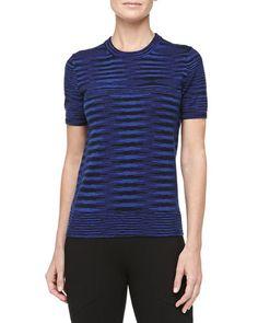 MICHAEL KORS Short-Sleeve Space-Dye Cashmere Tee, Sapphire. #michaelkors #cloth #tee