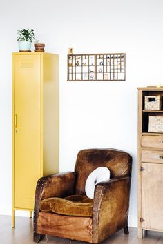 Skinny Locker in Mustard : The Workshop Below Wingback Chair, Armchair, Hanging Rail, Neat And Tidy, Mid Century Modern Furniture, Adjustable Shelving, Interior Inspiration, Lockers, Mustard