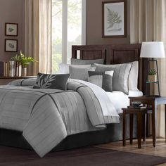 Madison Park Connell 6-Piece Duvet Cover Set in Grey
