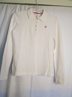 LILLY PULITZER XS PIMA COTTON&SPANDEX WHITE &PINK L/S POLO SHIRT  -$18.00 #LillyPulitzer #PoloShirt #Casual