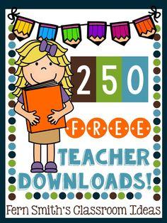 250 #FREE Teacher Downloads! #BacktoSchool #Freebies #FreebieFriday #TeachersFollowTeachers #FernSmithsClassroomIdeas