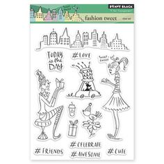 New Penny Black PARISIAN STROLL Slapstick Cling Rubber Stamp Girl Umbrella City