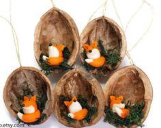 Wald-Tier Weihnachtsschmuck Fox Eule und Pilz-Ornament von Velwoo