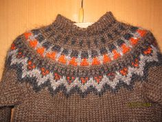 """Brown traditional Icelandic sweater """"Lopapeysa"""" with shoulder pattern 4 years old, hand knitted out of pure Icelandic lambs wool"""