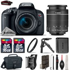 Canon EOS Rebel T7i DSLR Camera 800D  18-55mm IS STM  EXT BATT  32GB  More!