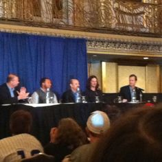 """""""Player Development: From the DR to Mesa"""" session at the 2012 Cubs Convention in the Grand Ballroom at the Hilton Chicago. Players on the panel include Welington Castilo and Jeff Samardzija. Starlin Castro who was scheduled to appear is absent."""
