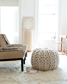 Knitting without Needles and pouf giveaway