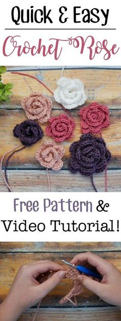 Make these easy crochet roses in any size with this free pattern and video tutorial! They use only beginner friendly basic stitches and work up really quickly   Free pattern from Sewrella