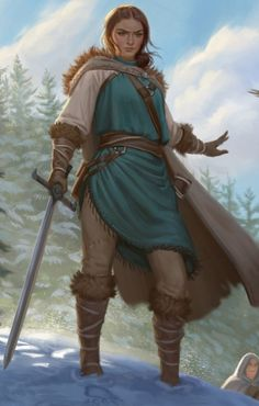 f Ranger Noble Lt Armor Cloak Sword Refugee's Conifer Forest Winter Snow Hills Road d&d RPG Female Character Portrait lg Fantasy Character Design, Character Design Inspiration, Character Concept, Character Art, Writing Inspiration, Fantasy Rpg, Medieval Fantasy, Fantasy Artwork, Dnd Characters