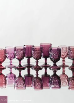 An assortment of purple goblets dating back to the turn of the . Marie's Wedding, Purple Wedding, Wedding Ideas, Wedding Inspiration, Table Wedding, Budget Wedding, Luxury Wedding, Wedding Gifts, Wedding Reception Table Decorations