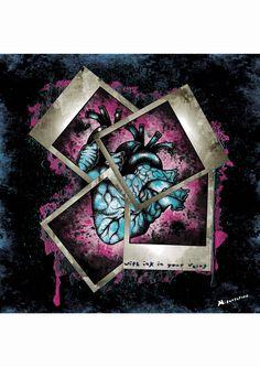 """""""Inked Heart"""" Affiche originale, créée à partir d'une dessin Noir et Blanc retravaillé sur ordinateur. Entre art illustratif et peinture numérique, cette affiche aux allures de tatouage est disponible en format A3 où sur commande en format: 40*60 cm à 16€ et 80*120 cm à 40 euros."""