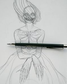 (repost for better quality) - - every time I draw boobs I start seeing nipple-faces. Symmetrical #tattoos aren't helping  oh and I have high hopes for this #illustration I am crossing my fingers I won't ruin it in the next steps. I need some creative illustration me-time asap so I can finally finish it.