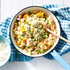If you're pushed for time to create a delicious dinner, try Quick Risotto with Bacon, Pumpkin and Peas #risotto #bacon #pumpkin #peas #dinner #quick #delicious