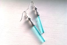 LIGHT BLUE Star Wars Lightsaber Earrings by hippopotamuspie, $9.00
