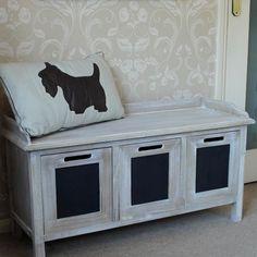 3 Drawer Wooden Storage Bench Blackboard Hall Seat Limed Unit Chic WIndow Wooden