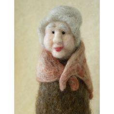 Gray Haired Granny Needle Felt Wool Figure by all4fiberarts