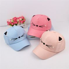 Spring Fashion Brand Street Adjustable Lovely Embroidery Hat Cat Ears Snapback Cap Boy Girl Pearl Baseball Cap #Affiliate
