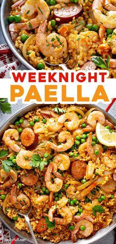 Fish Recipes, Seafood Recipes, Mexican Food Recipes, Cooking Recipes, Healthy Recipes, Spanish Chorizo Recipes, Spanish Food Recipes, Shrimp Dinner Recipes, Mexican Chorizo
