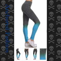 ⚓️Blue and Grey Ombré Legging⚓️ These great quality leggings are moisture wicking and fit true to size. 88% Nylon 12% Spandex. All of my customers have rated these leggings five stars! Available in size S/M and size LG/XL. Please let me know what size and color you would like and I will create a custom bundle for you. I do discounted bundles, Pants Leggings