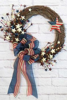 Items similar to July Wreath - Patriotic Wreath - Fourth of July Wreath - American Flag Wreath - Veterans Day Wreath - Americana - Stars and Stripes on Etsy Patriotic Crafts, Patriotic Wreath, July Crafts, Holiday Crafts, Flag Wreath, Grapevine Wreath, Burlap Wreath, Patriotic Party, Holiday Wreaths
